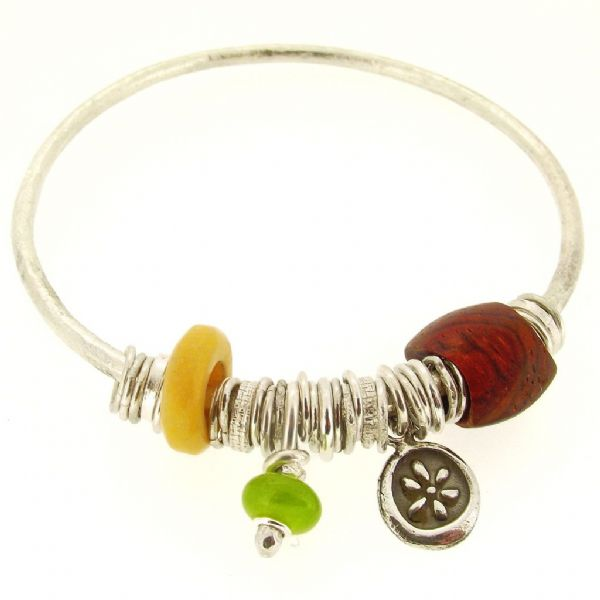 Serpentine silver bangle handmade with wooden bead 3mm rod